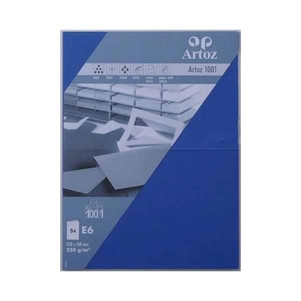 Carte double E6 250x180 220g paquet de 5 - bleu royal - Photo n°1