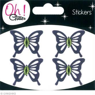 Stickers Oh ! Glitter - Papillons Violet à paillettes 3,5 cm - 4 pcs