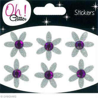 Stickers Oh ! Glitter - Fleurs Gris argent à paillettes 3 cm - 6 pcs