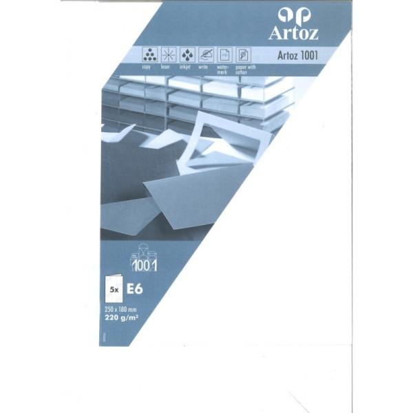 Carte double E6 250x180 220g paquet de 5 - blanc fleur - Photo n°1