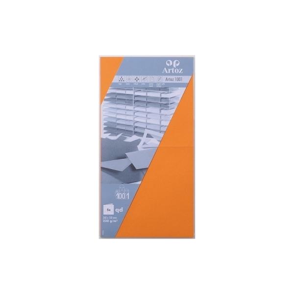 Carte carrée 260x130 220g paquet de 5 orange - Photo n°1