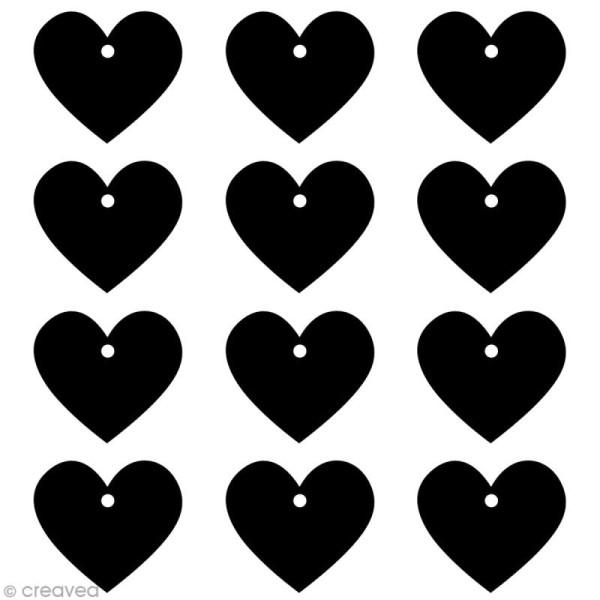 Tags ardoise - Coeurs 5,5 cm - 12 pcs - Photo n°2