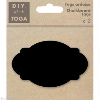 Tags ardoise - Ovales baroques 8,5 cm - 12 pcs