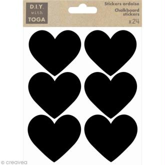 Stickers ardoise - Petits coeurs x 24