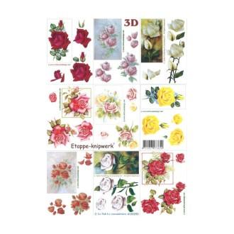 Carte 3d à découper - petites roses