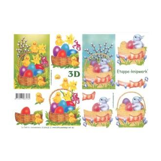 Carte 3D à découper - oeufs de pâques
