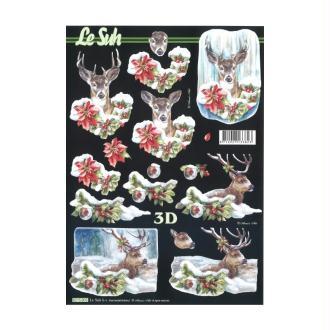 Carte 3d à découper - rennes noël