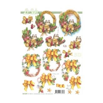 Carte 3d à découper - couronnes noël