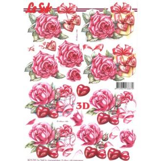 Carte 3d à découper - roses coeurs