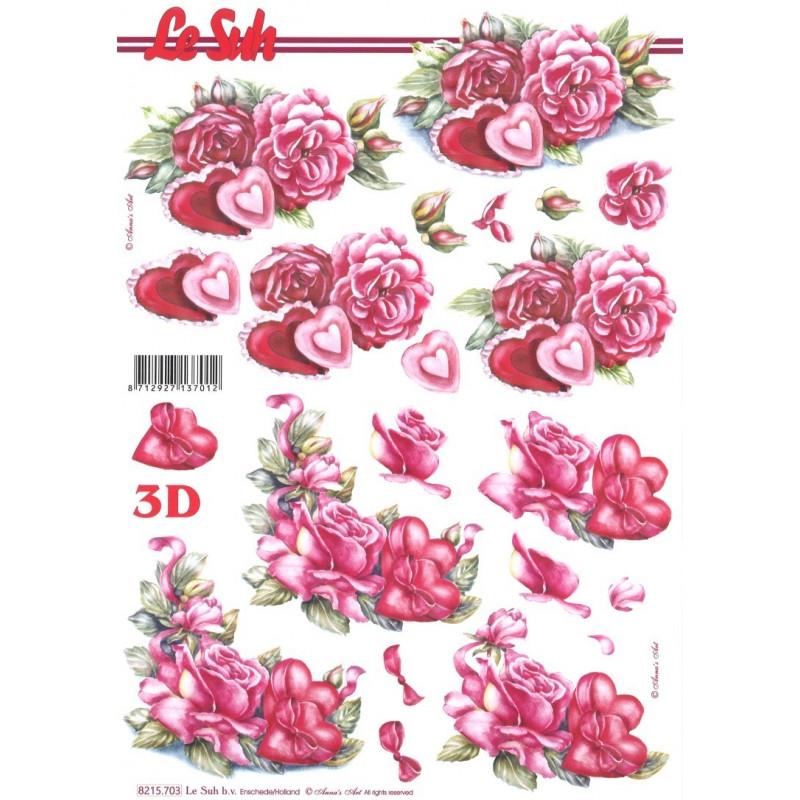 Carte 3d d couper coeurs de roses carte 3d d couper creavea - Modele de coeur a decouper ...