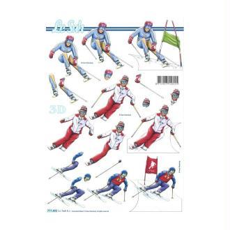 Carte 3d à découper - skieurs