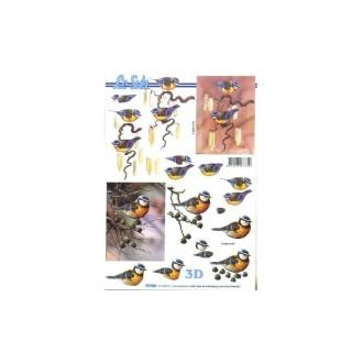 Carte 3d à découper - mésanges