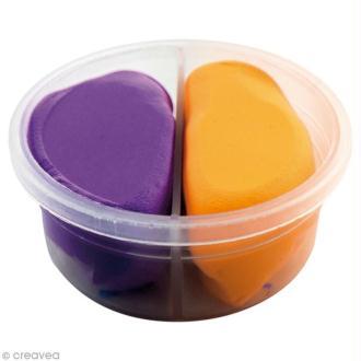 Pâte à modeler Padaboo - Douce - Violet et orange fluo - 40 g