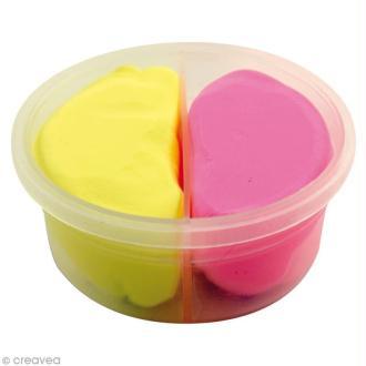 Pâte à modeler Padaboo - Douce - Rose et jaune fluo - 40 g
