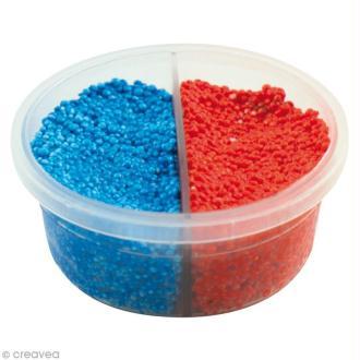 Pâte à modeler Padaboo - Perlée - Bleu métal et rouge - 38 g