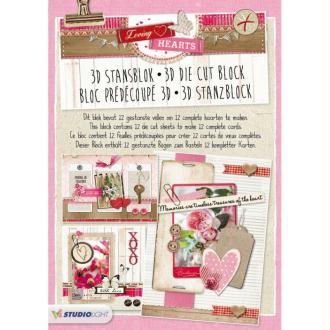 Bloc 12 feuilles A4 carte 3D prédec. 180g love