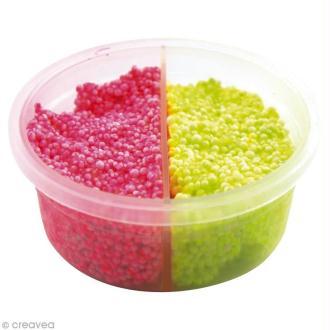 Pâte à modeler Padaboo - Perlée Mica - Rose fluo et jaune fluo - 38 g