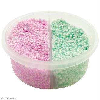 Pâte à modeler Padaboo - Perlée Mica - Vert fluo et violet fluo - 38 g