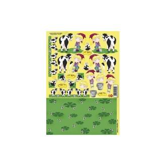 Carte 3D à découper - enfants et vaches