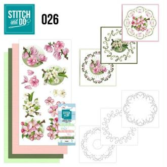 Stitch and do 26 carte 3d broderie - fleurs roses