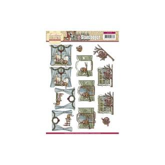 Carte 3D prédéc. - yvonne créations - animaux à la fenêtre