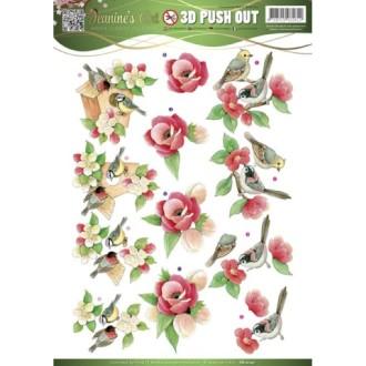 Carte 3d prédéc. - jeanines art - fleurs et mésanges