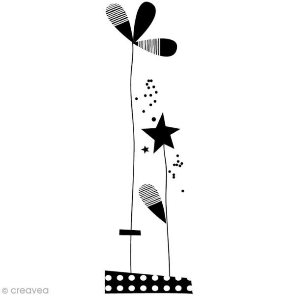 Tampon Naissance - Fleur et étoile - 3 x 9 cm - Photo n°1
