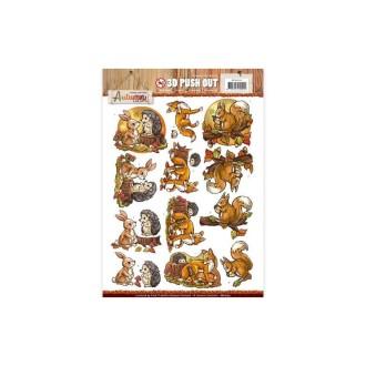 Carte 3d prédéc. - yvonne créations - animaux de la forêt