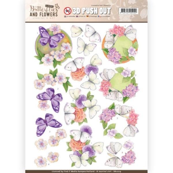 Carte 3D prédéc. - SB10219 - classic butterflies and flowers - papillons sur fleurs - Photo n°1