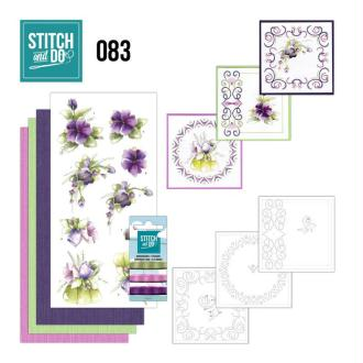 Stitch and do 83 - kit carte 3d broderie - fleurs pourpres