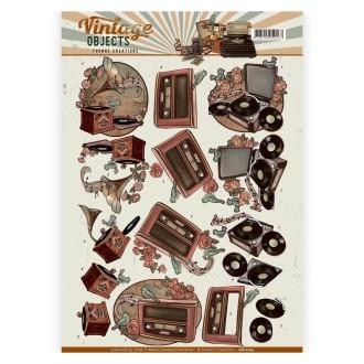 Carte 3d à découper - yvonne creations - vintage objects - musique