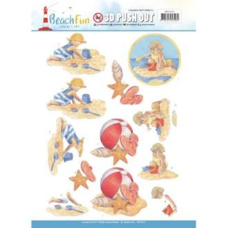 Carte 3D prédéc. - Jeanine'sArt - Beach fun - Jouer à la plage