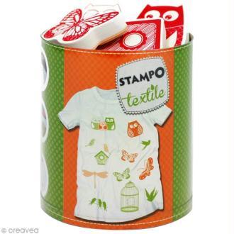 Stampo'textile - Kit tampon et encreur Izink - Nature x 12