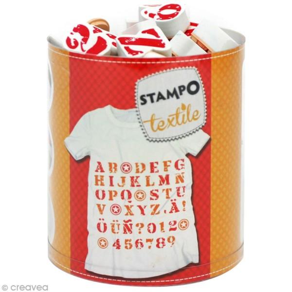 Stampo'textile - Kit tampon et encreur Izink - Alphabet et chiffre x 45 - Photo n°1