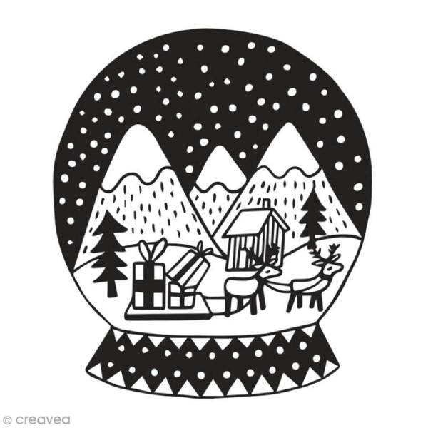 Tampon en bois Aladine - Boule à neige de Noël - 6 x 6 cm - Photo n°1