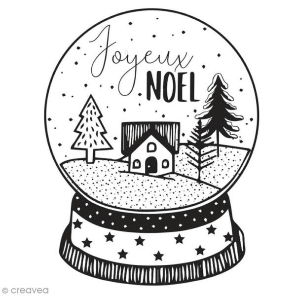 Tampon en bois Aladine - Boule à neige Joyeux Noël - 6 x 6 cm - Photo n°1