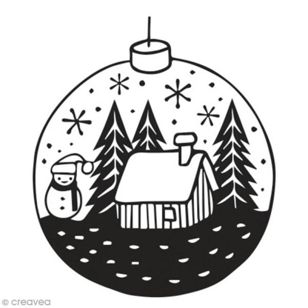 Tampon en bois Aladine - Petite boule de Noël - 4 x 4 cm - Photo n°1