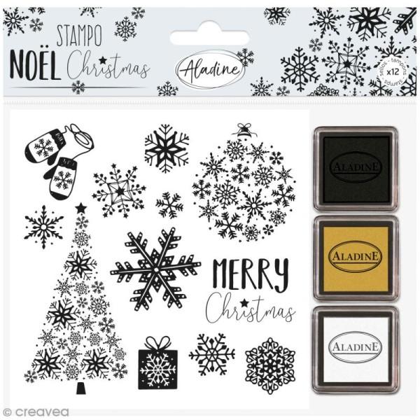 Kit tampon et encreurs Stampo Noël - Flocons de neige - 15 pcs - Photo n°1