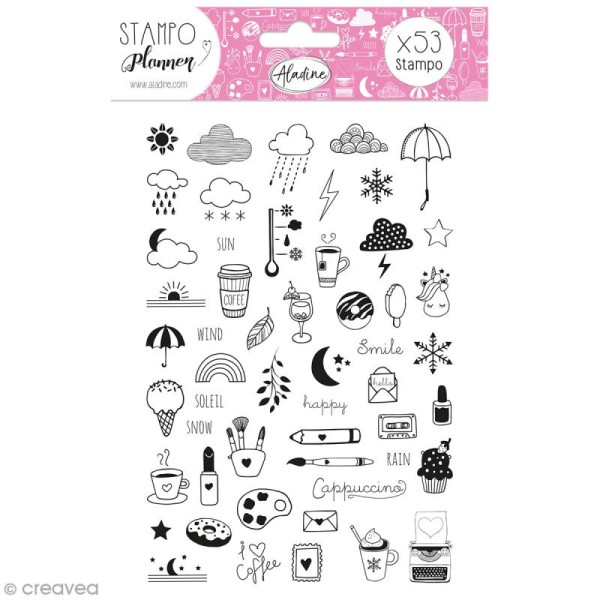 Kit de tampons Stampo Planner - Girly - 53 pcs - Photo n°1