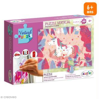 Puzzle adhésif repositionnable Vertical Puzzle Aladine - Licorne - 48 pièces