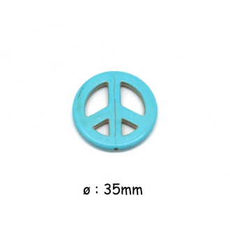 2 Perles Peace And Love 35mm Imitation Turquoise