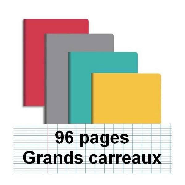 Cahier piqure 17X22 96P seyes couverture carte - Photo n°1