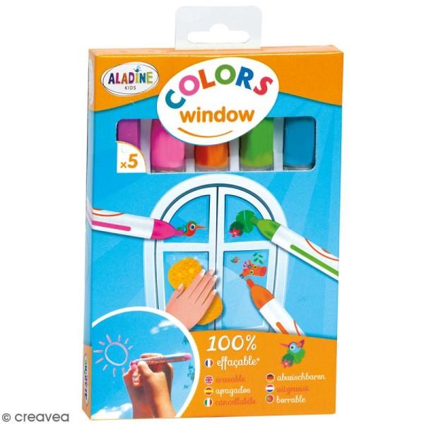 Feutre craie spécial vitres et miroirs Colors - 5 pièces - Photo n°1