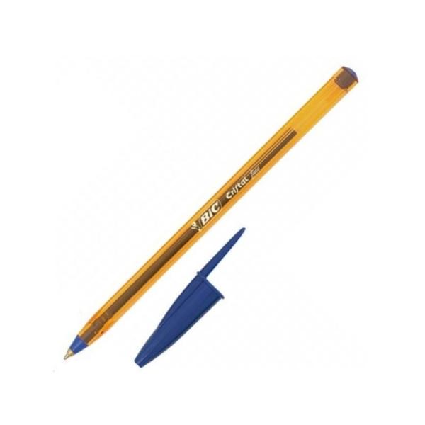 Stylo bille bleu Cristal Orange fin Bic - Photo n°1