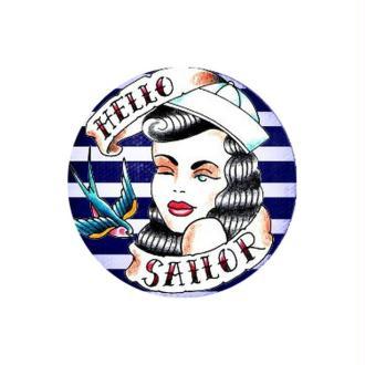 1 Cabochon Verre 14 mm Marin, Femme Matelot, Sailor, Rayures Bleu Blanc