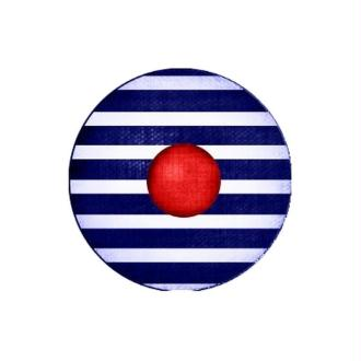 1 Cabochon Verre 25 mm Marin, Béret, Pompon Marin Rouge, Rayures Bleu Blanc