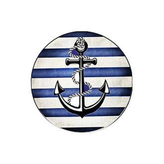 1 Cabochon Verre 14 mm Marin, Ancre, Rayures Bleu Blanc