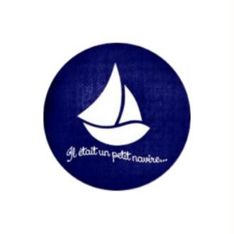 1 Cabochon Verre 20 mm Marin, Voilier, Bleu