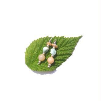 Larimar et Opale rose : 2 Pendentifs 2,2 CM de hauteur x 7 MM max de largeur
