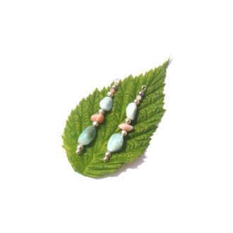 Larimar et Opale Rose : Paire de pendentifs 3,4 CM de hauteur x 5 MM de largeur